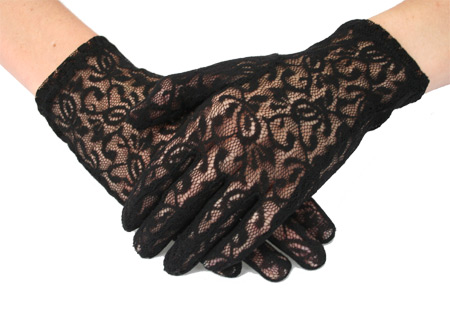 Vintage Ladies Black Floral Gloves | Romantic | Old Fashioned | Traditional | Classic || Lace Gloves - Black Plain Wrist