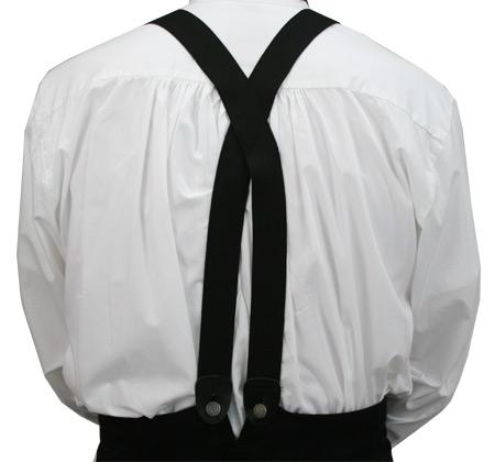 Victorian Mens Black Elastic X-Back Braces Suspenders | Dickens | Downton Abbey | Edwardian || Black Elastic X-Back Braces