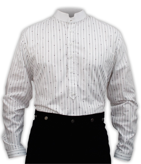 Steampunk Mens White Cotton Stripe Stand Collar Dress Shirt | Gothic | Pirate | LARP | Cosplay | Retro | Vampire || Wyatt Stripe Shirt