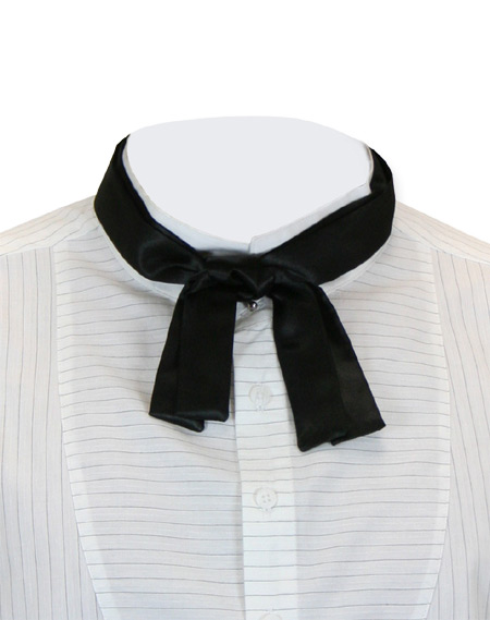 Victorian Mens Black Solid Bow Tie | Dickens | Downton Abbey | Edwardian || String Tie - Untied