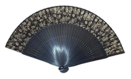 Wedding Ladies Blue Wood Fan | Formal | Bridal | Prom | Tuxedo || Silk Fan, Navy Floral