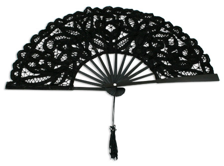 Vintage Ladies Black Cotton,Lace Fan | Romantic | Old Fashioned | Traditional | Classic || Battenberg Lace Fan, Black