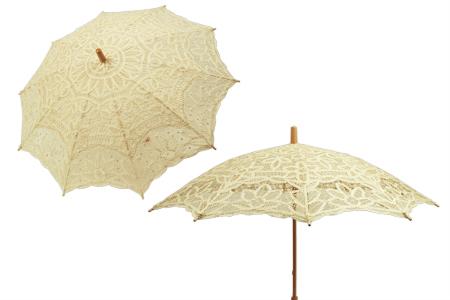 Vintage Ladies Ivory Cotton,Lace Lacy Parasol   Romantic   Old Fashioned   Traditional   Classic    Battenberg Lace Parasol - Ivory