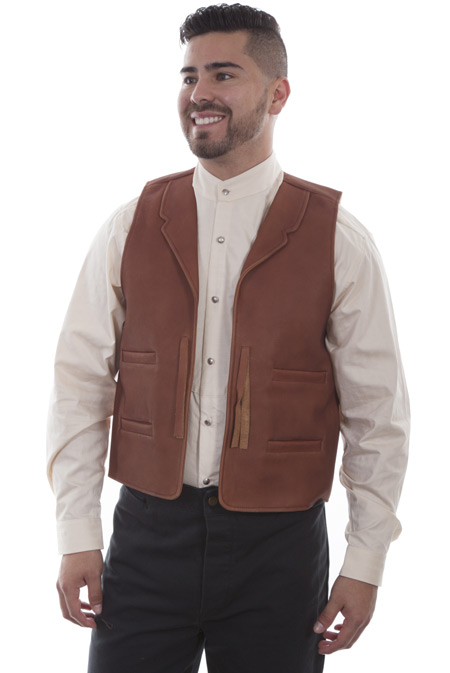 Victorian Mens Brown Leather Solid Notch Collar Leather Vest | Dickens | Downton Abbey | Edwardian || Duke Leather Vest