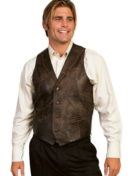 Wedding Mens Brown Leather Solid Shawl Collar Leather Vest | Formal | Bridal | Prom | Tuxedo || Trailrider Vest - Buffed Calf Leather - Brown