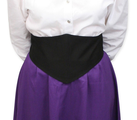 Victorian Ladies Black Cotton Solid Belt | Dickens | Downton Abbey | Edwardian || Black Cotton Belt