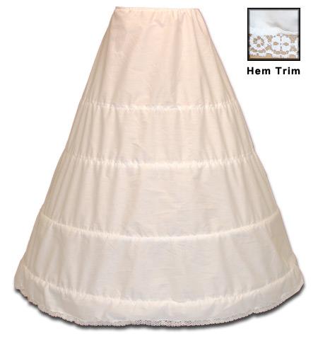 Wedding Ladies White Solid Hoop Underskirt | Formal | Bridal | Prom | Tuxedo || Four Bone Hoop Underskirt