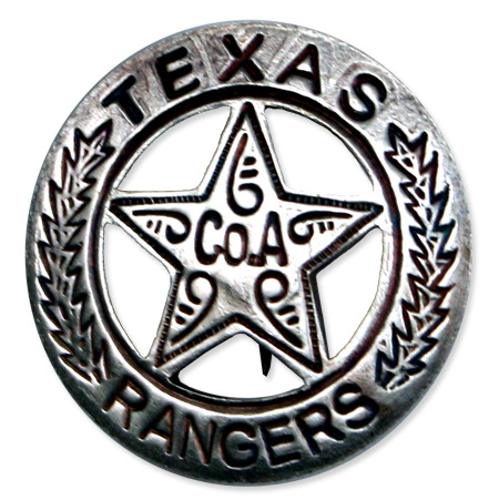 1800s Mens Silver Alloy Badge | 19th Century | Historical | Period Clothing | Theatrical || Old West Badge - Texas Ranger, Co. A