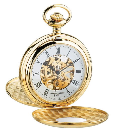 Steampunk Mens Gold Alloy Mechanical Watch | Gothic | Pirate | LARP | Cosplay | Retro | Vampire || Premium Gold Window Pocket Watch with Chain - Inscribed Numerals