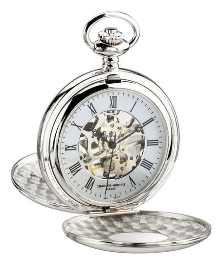 1800s Mens Silver Alloy Mechanical Watch | 19th Century | Historical | Period Clothing | Theatrical || Premium Silver Window Pocket Watch with Chain - Inscribed Numerals