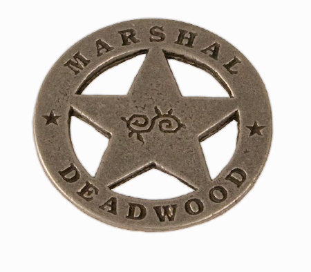 Steampunk Mens Silver Alloy Badge | Gothic | Pirate | LARP | Cosplay | Retro | Vampire || Old West Badge - Deadwood Marshal