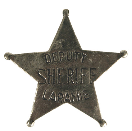 1800s Mens Silver Alloy Badge | 19th Century | Historical | Period Clothing | Theatrical || Old West Badge - Laramie Deputy Sheriff
