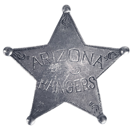 Wedding Mens Silver Alloy Badge | Formal | Bridal | Prom | Tuxedo || Old West Badge - Arizona Rangers