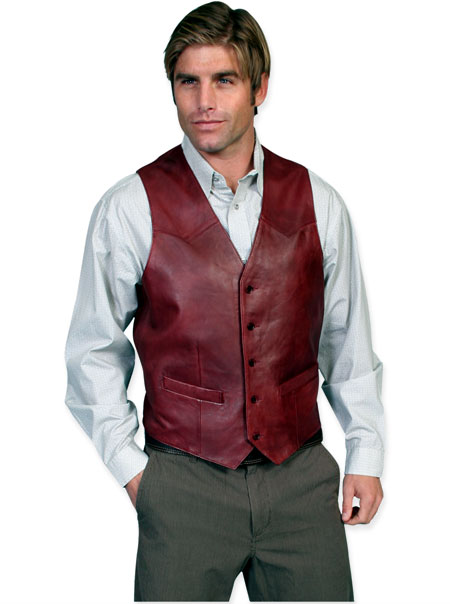 Wedding Mens Burgundy Leather Solid No Collar Leather Vest | Formal | Bridal | Prom | Tuxedo || Western Single Point Vest - Soft Touch Lamb Leather - Black Cherry