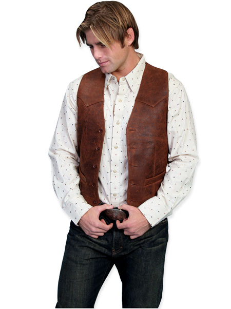 Victorian Mens Brown Leather Solid No Collar Leather Vest | Dickens | Downton Abbey | Edwardian || Western Single Point Vest - Vintage Lamb Leather - Brown