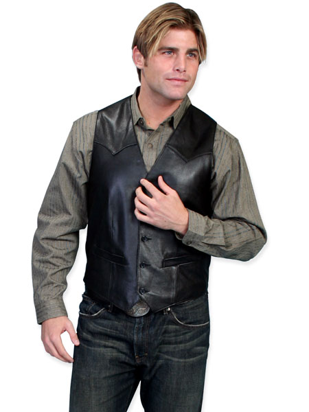 Steampunk Mens Black Leather Solid No Collar Leather Vest | Gothic | Pirate | LARP | Cosplay | Retro | Vampire || Western Single Point Vest - Italian Lamb Leather - Black