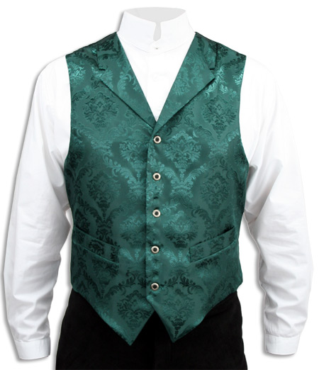 Wedding Mens Green Floral Notch Collar Dress Vest | Formal | Bridal | Prom | Tuxedo || Emerald Isle Vest