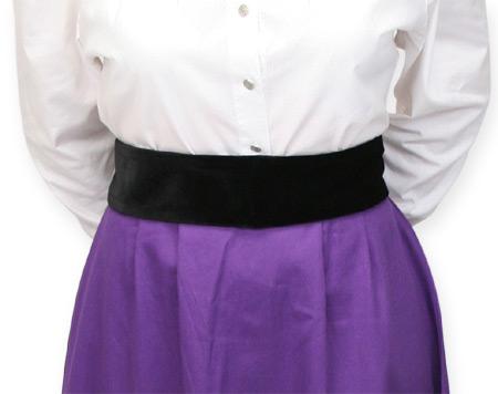Vintage Ladies Black Velvet Solid Belt | Romantic | Old Fashioned | Traditional | Classic || Black Velvet Belt - Narrow
