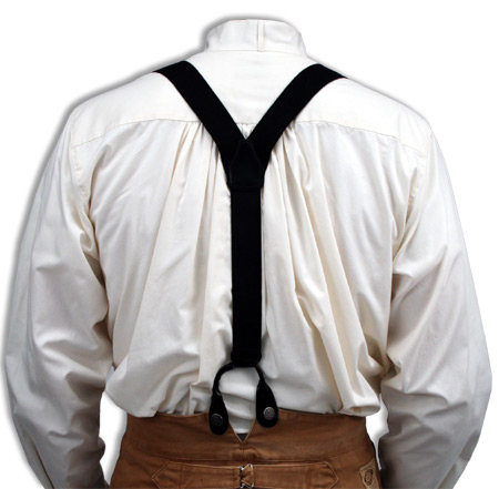 Victorian Mens Black Cotton Y-Back Braces Suspenders | Dickens | Downton Abbey | Edwardian || Black Canvas Y-Back Braces
