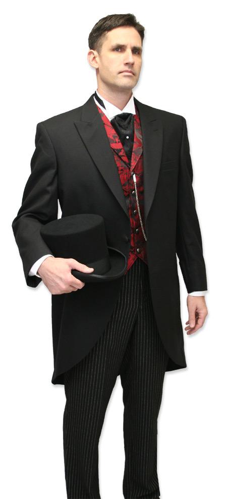 Vintage Mens Black Wool Solid Peak Collar Cutaway Coat   Romantic   Old Fashioned   Traditional   Classic    Victorian Cutaway Morning Coat - Black Wool