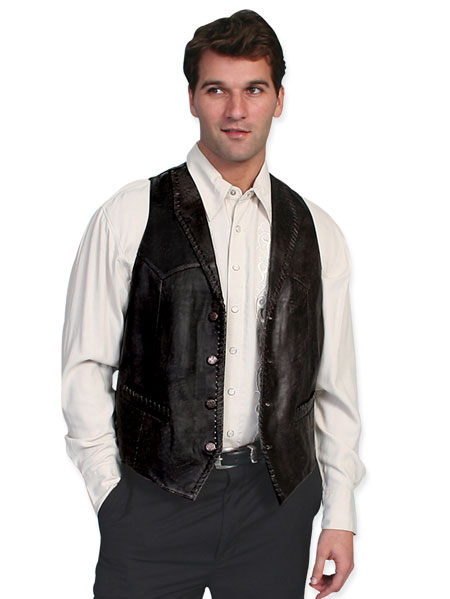 1800s Mens Black Leather Solid Shawl Collar Leather Vest | 19th Century | Historical | Period Clothing | Theatrical || Trailrider Vest - Italian Lamb Leather - Black