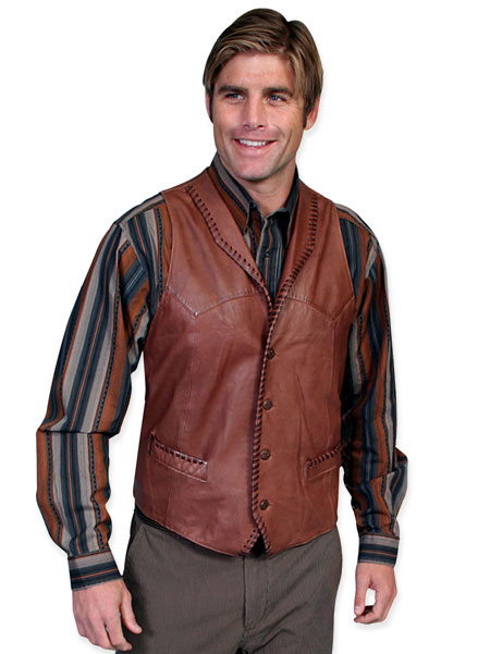 Vintage Mens Brown,Tan Leather Solid Shawl Collar Leather Vest | Romantic | Old Fashioned | Traditional | Classic || Trailrider Vest - Italian Lamb Leather - Ranch Tan