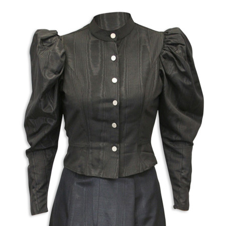 Wedding Ladies Black Solid Band Collar Blouse | Formal | Bridal | Prom | Tuxedo || Moire Tie Back Blouse - Black