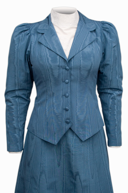 Victorian Ladies Blue Cotton Blend Solid Notch Collar Outing Jacket | Dickens | Downton Abbey | Edwardian || Moire Outing Jacket - Blue