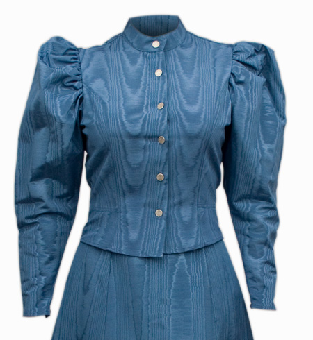 Steampunk Ladies Blue Solid Band Collar Blouse | Gothic | Pirate | LARP | Cosplay | Retro | Vampire || Moire Tie Back Blouse - Blue