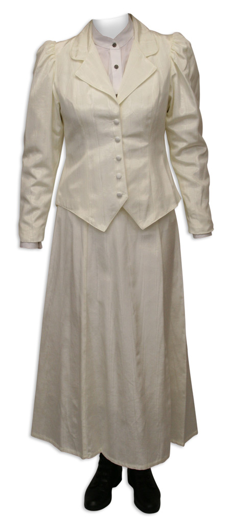 1800s Ladies Ivory Cotton Blend Solid Notch Collar Outing Jacket | 19th Century | Historical | Period Clothing | Theatrical || Moire Outing Jacket - Natural