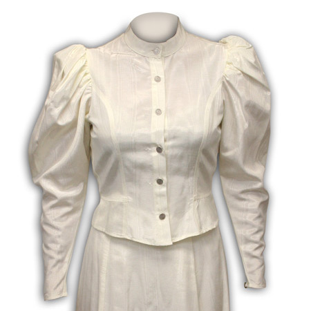 1800s Ladies Ivory Solid Band Collar Blouse | 19th Century | Historical | Period Clothing | Theatrical || Moire Tie Back Blouse - Natural