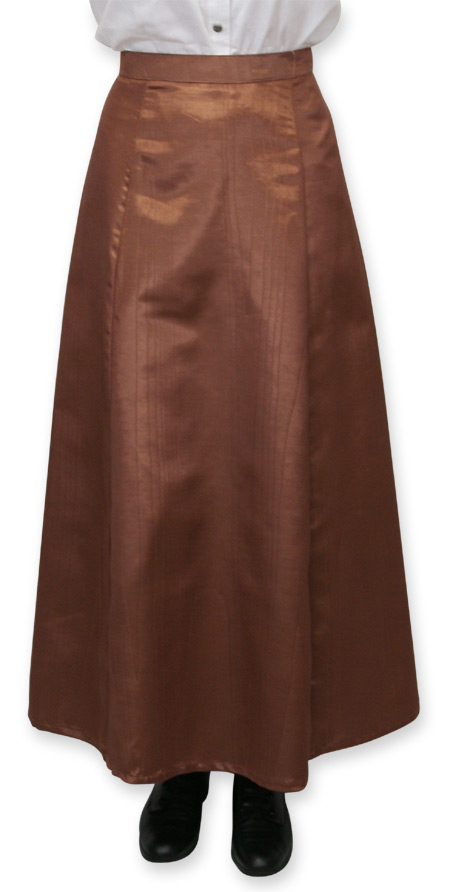 Wedding Ladies Brown Solid Dress Skirt | Formal | Bridal | Prom | Tuxedo || Moire Gibson Girl Skirt - Chocolate