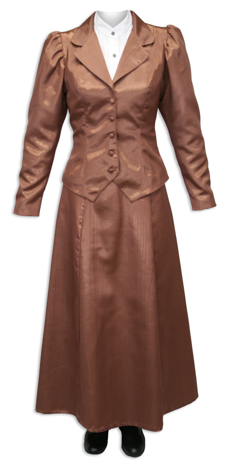 Victorian Ladies Brown Cotton Blend Solid Notch Collar Outing Jacket | Dickens | Downton Abbey | Edwardian || Moire Outing Jacket - Chocolate