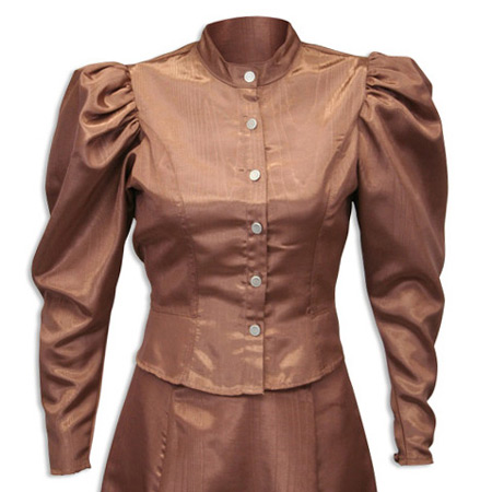 Victorian Ladies Brown Solid Band Collar Blouse | Dickens | Downton Abbey | Edwardian || Moire Tie Back Blouse - Chocolate