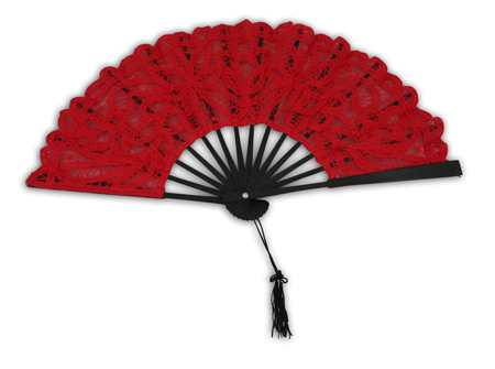 1800s Ladies Red,Black Cotton,Lace Fan | 19th Century | Historical | Period Clothing | Theatrical || Battenberg Lace Fan, Red with Black Trim