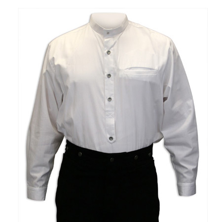 Vintage Mens White Cotton Solid Band Collar Dress Shirt | Romantic | Old Fashioned | Traditional | Classic || Fairchild Shirt