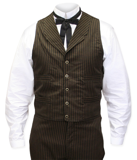 Vintage Mens Brown Cotton Stripe Notch Collar Dress Vest | Romantic | Old Fashioned | Traditional | Classic || Ferndale Striped Vest - Brown/Navy