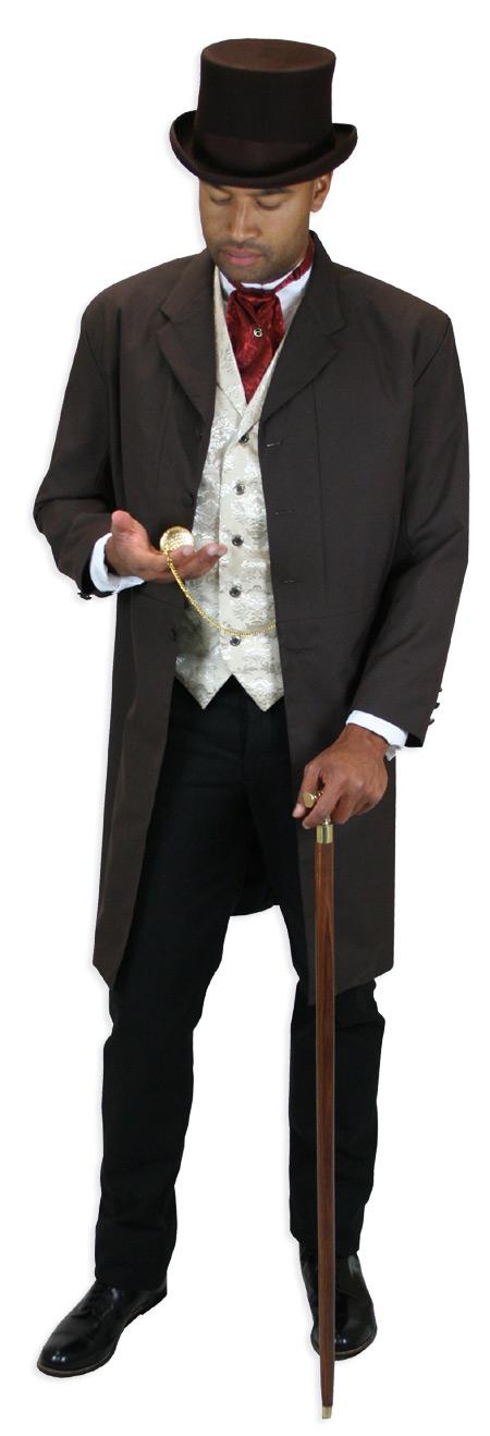 Victorian Mens Ivory,Tan Floral Notch Collar Dress Vest   Dickens   Downton Abbey   Edwardian    Spencer Vest