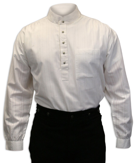 Wedding Mens White Cotton Stripe Band Collar Dress Shirt | Formal | Bridal | Prom | Tuxedo || Flatiron Shirt - White