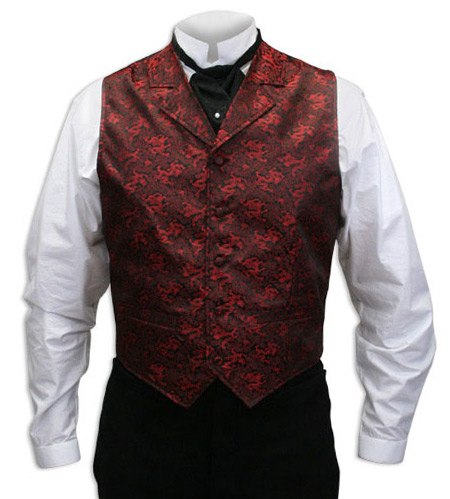 Steampunk Mens Red Print Notch Collar Dress Vest | Gothic | Pirate | LARP | Cosplay | Retro | Vampire || Drake Vest - Red