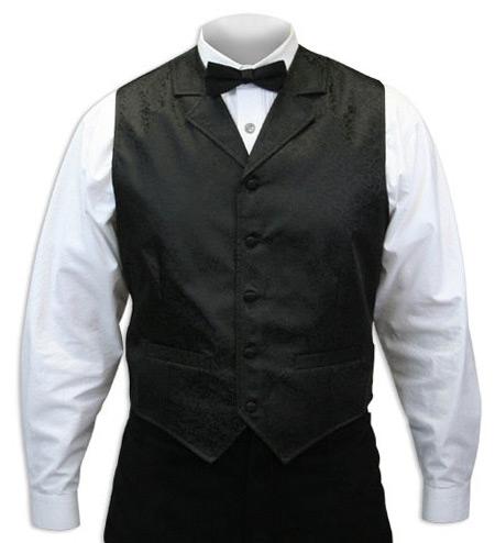 Steampunk Mens Black Print Notch Collar Dress Vest | Gothic | Pirate | LARP | Cosplay | Retro | Vampire || Drake Vest - Black