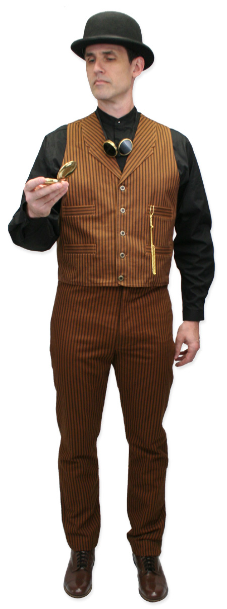 Wedding Mens Brown Cotton Stripe Notch Collar Dress Vest | Formal | Bridal | Prom | Tuxedo || Chadwick Striped Vest
