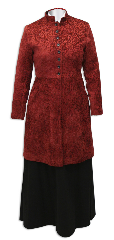 Vintage Ladies Red Floral Stand Collar Frock Coat | Romantic | Old Fashioned | Traditional | Classic || Ramona Frock Coat - Wine
