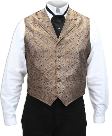 Steampunk Mens Brown Paisley Notch Collar Dress Vest | Gothic | Pirate | LARP | Cosplay | Retro | Vampire || Platte River Vest