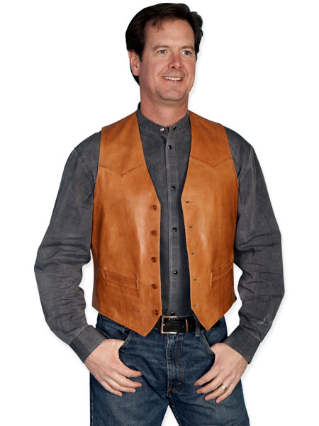 Steampunk Mens Brown,Tan Leather Solid No Collar Leather Vest | Gothic | Pirate | LARP | Cosplay | Retro | Vampire || Western Single Point Vest - Ranch Tan