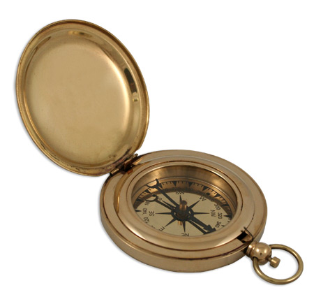 Wedding Mens Brass Brass Compass | Formal | Bridal | Prom | Tuxedo || Dalvey Style Compass - 3 in. brass