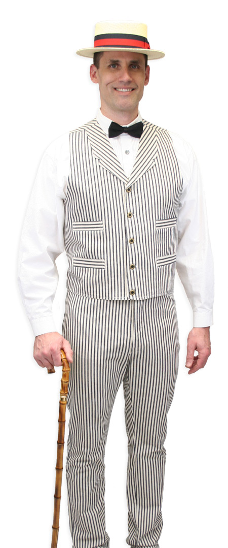 Vintage Mens Ivory,Blue Cotton Stripe Notch Collar Dress Vest   Romantic   Old Fashioned   Traditional   Classic    Summerhill Striped Vest - Natural/Navy