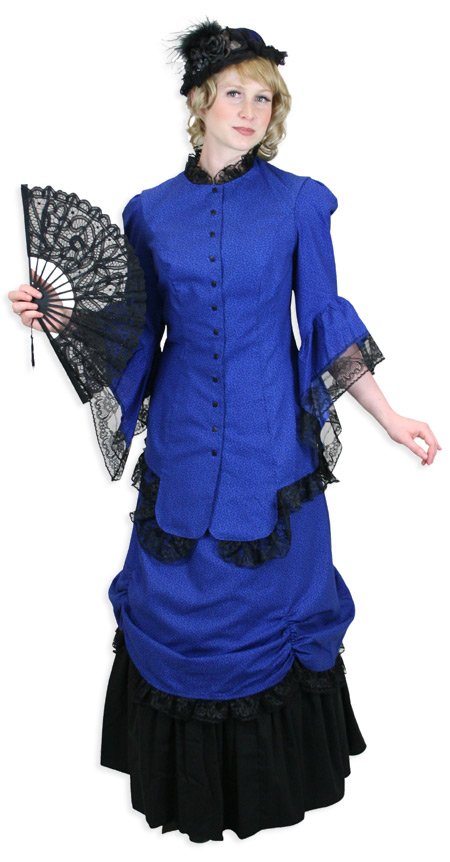 Steampunk Ladies Blue Cotton Print Dress | Gothic | Pirate | LARP | Cosplay | Retro | Vampire || Lucille Walking Suit, Royal