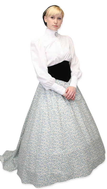 1800s Ladies White Cotton Solid Stand Collar Blouse | 19th Century | Historical | Period Clothing | Theatrical || Darlington Blouse