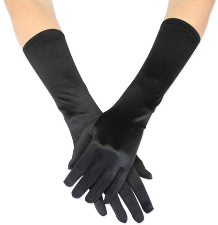 Steampunk Ladies Black Solid Gloves | Gothic | Pirate | LARP | Cosplay | Retro | Vampire || Elbow Length Satin Gloves - Black